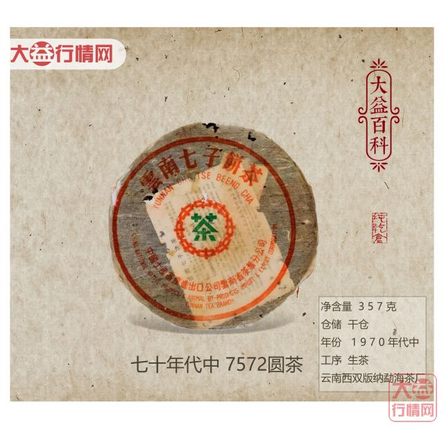 【大益百科】七十年代中 7572圆茶